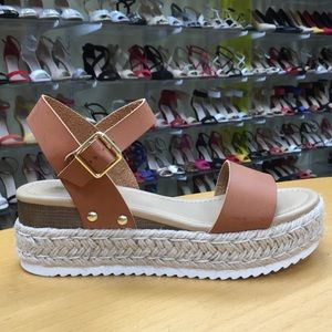 2019 Spring is here! Soda Tan Flat-Form Espadrille